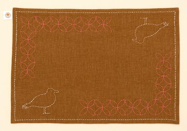TOHOKU: Sashiko Luncheon Mat - Swallow Pattern on Brown - 1
