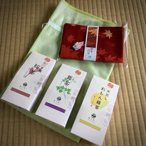 Chasandai Flavored Tea Sampler Set with Tenugui Hand Cloth