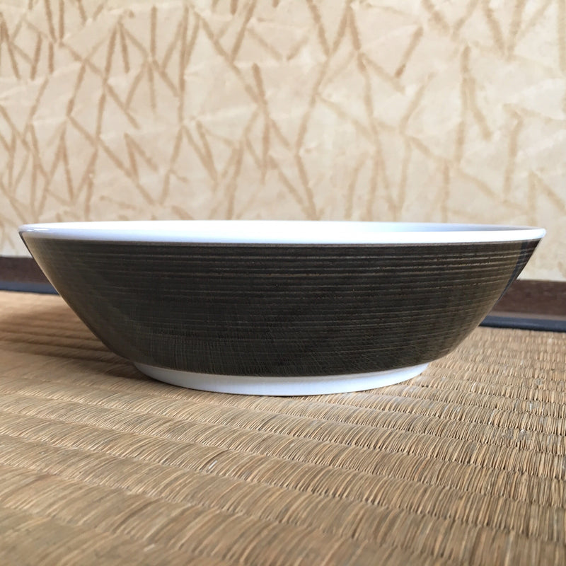 "Hakusan Porcelain: Hasamiyaki Bowl - ""Threads of Hemp"" (Indigo or Sepia)"