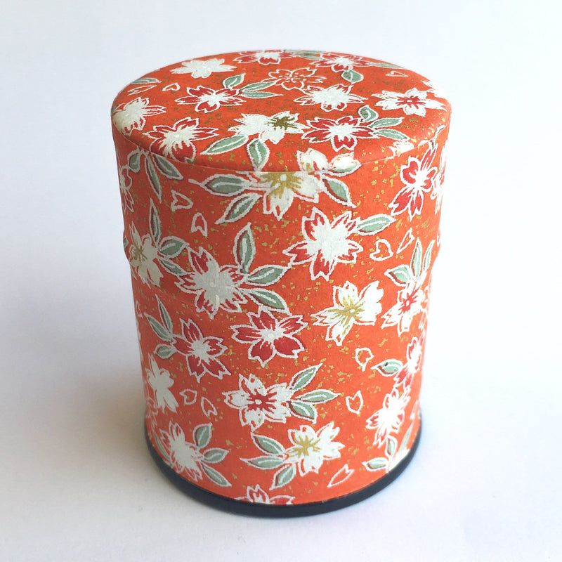 Okumura Seikan 774M: Matcha Tea Can, Chiyogami Washi Paper - Sakura Red (size for 40g)