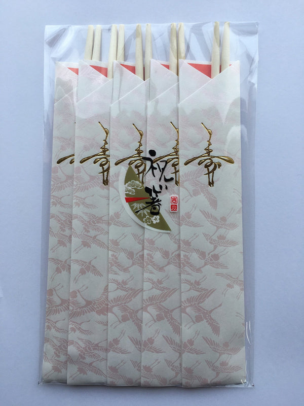 Celebratory Disposable Chopsticks - Crane Tsuru Pattern