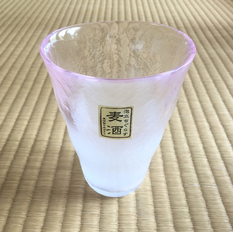 Frosted Beer Glass Pink by Toyo Sasaki Glass