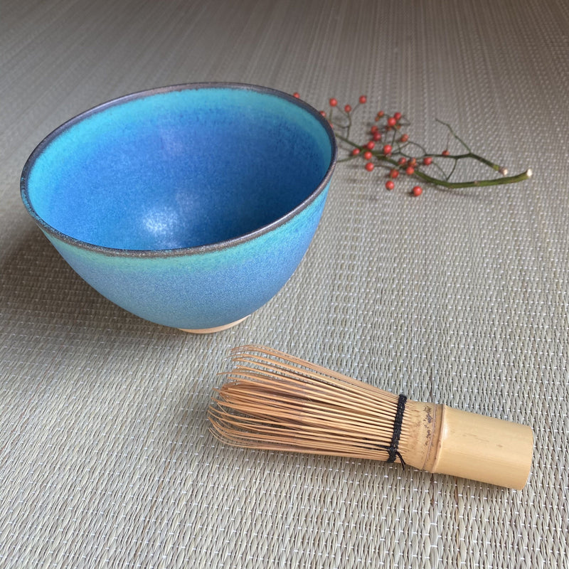 Oiso Studio: Sea Blue Matcha Bowl with wooden box