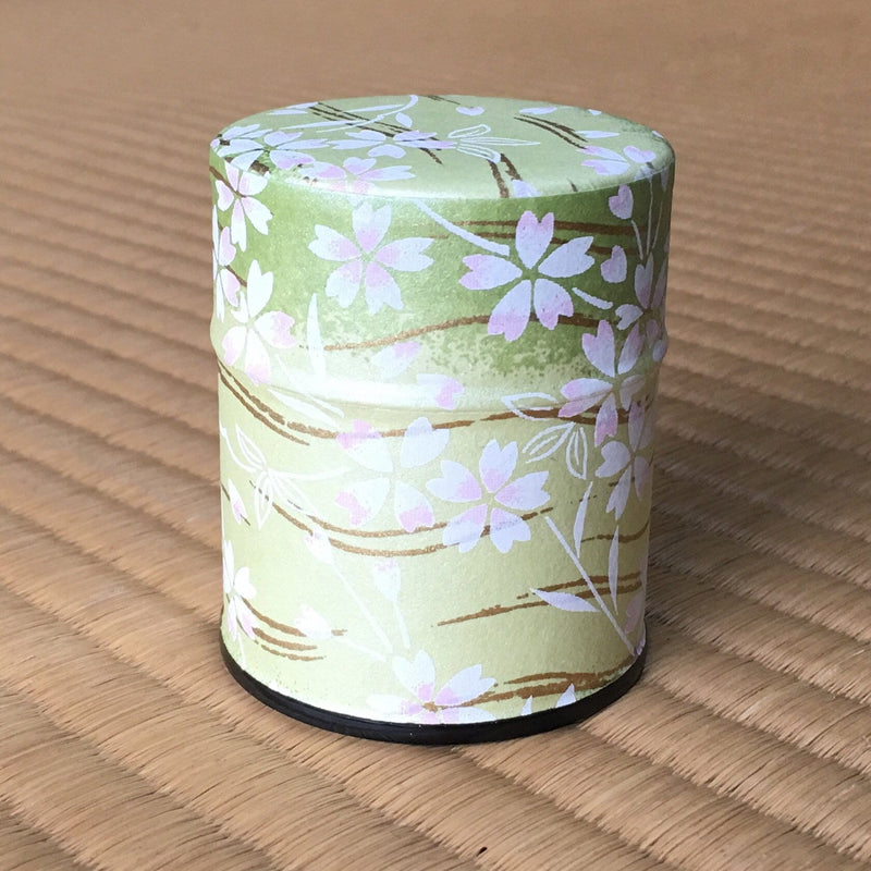Okumura Seikan 9061M: Matcha Tea Can, Chiyogami Washi Paper - Sakura Green (Size for 40g)