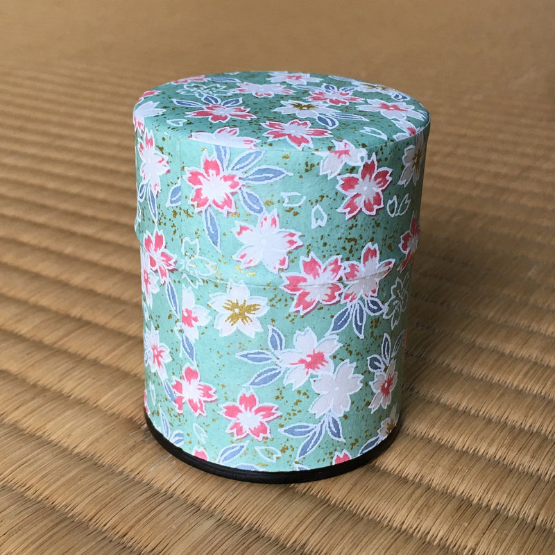 Okumura Seikan 775M: Matcha Tea Can, Chiyogami Washi Paper - Sakura Green (size for 40g)