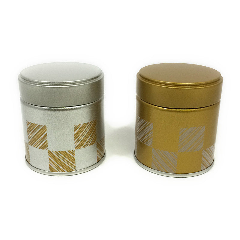 Okumura Seikan: Matcha Tea Can, Gold Patterned Screw Top - 2