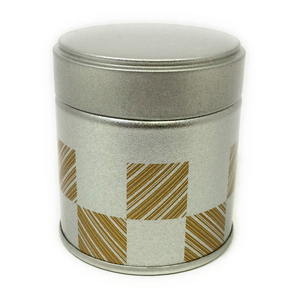 Okumura Seikan: Matcha Tea Can, Silver Patterned Screw Top - 1