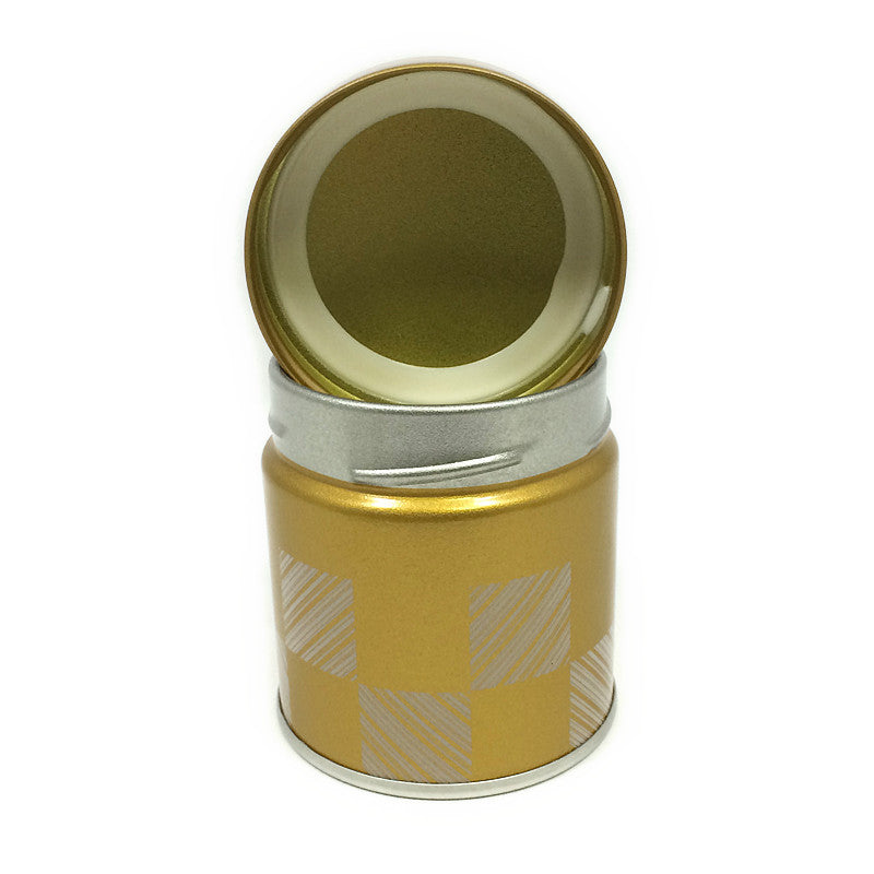 Okumura Seikan: Matcha Tea Can, Gold Patterned Screw Top - 3