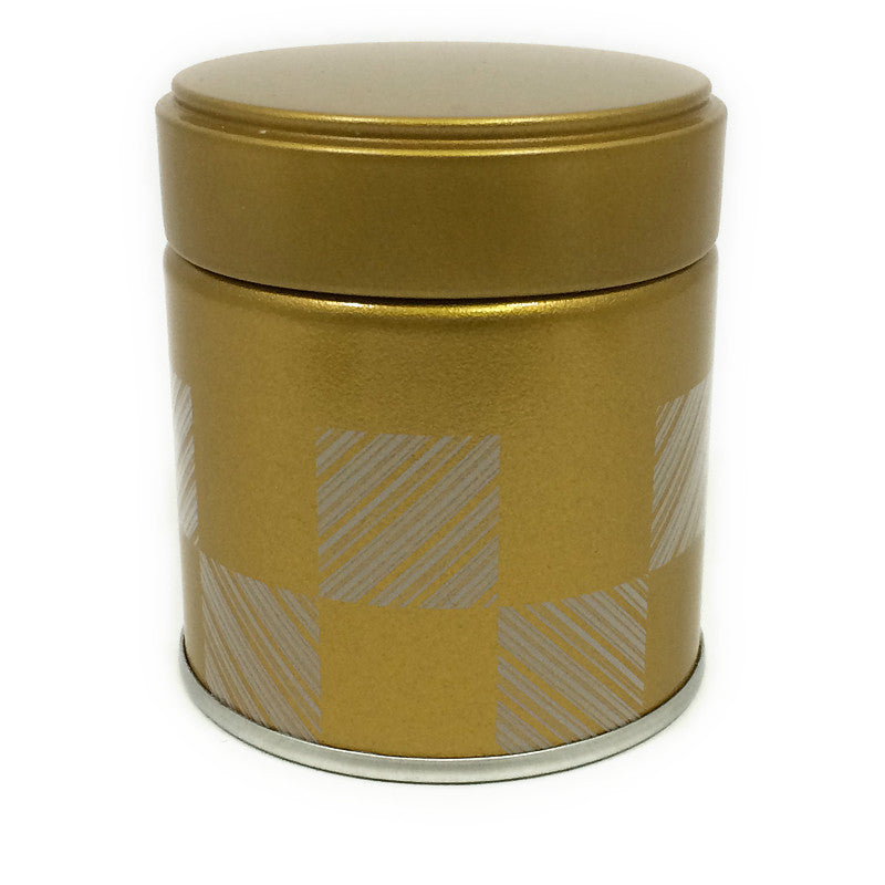 Okumura Seikan: Matcha Tea Can, Gold Patterned Screw Top - 1
