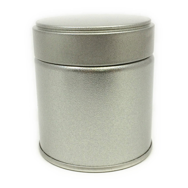 Okumura Seikan: Matcha Tea Can, Silver Screw Top - 1