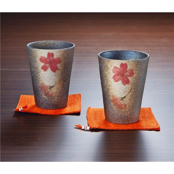 Shigarakiyaki Tumblers with Coasters Couple's Set