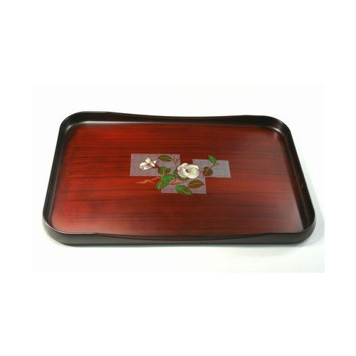 Yunomi: Lacquerware Tray (Obon) with Camellia Flower Design - 1