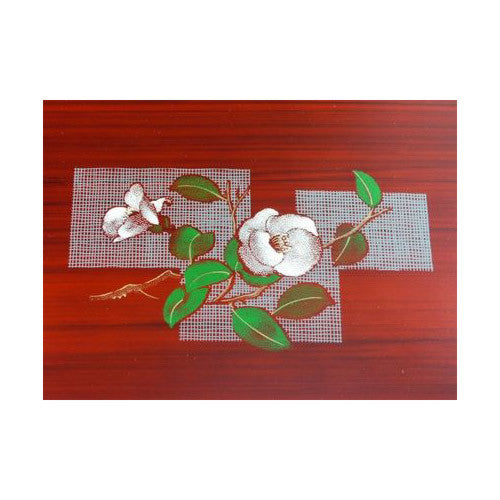 Yunomi: Lacquerware Tray (Obon) with Camellia Flower Design