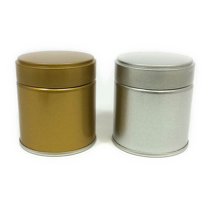 Okumura Seikan: Matcha Tea Can, Silver Screw Top - 3