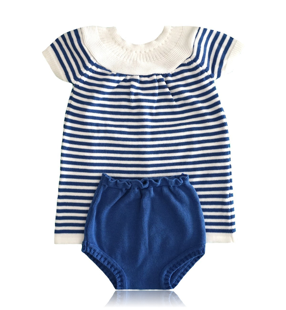 Spanish baby clothes | baby Dress | Blue and white two piece dress set |babymaC  - 1