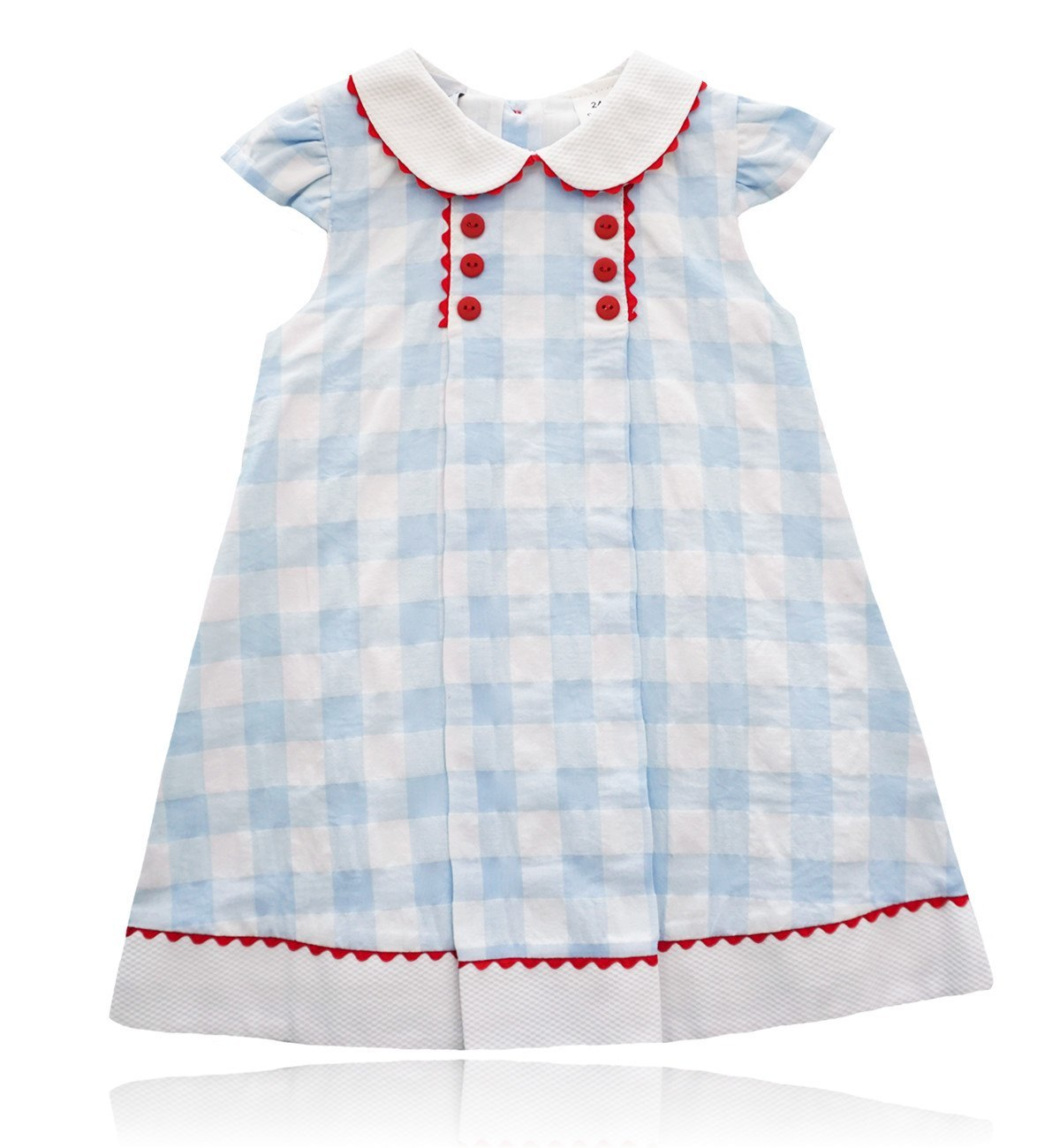 Spanish baby clothes | baby Dress | Blue & white check dress |babymaC  - 1