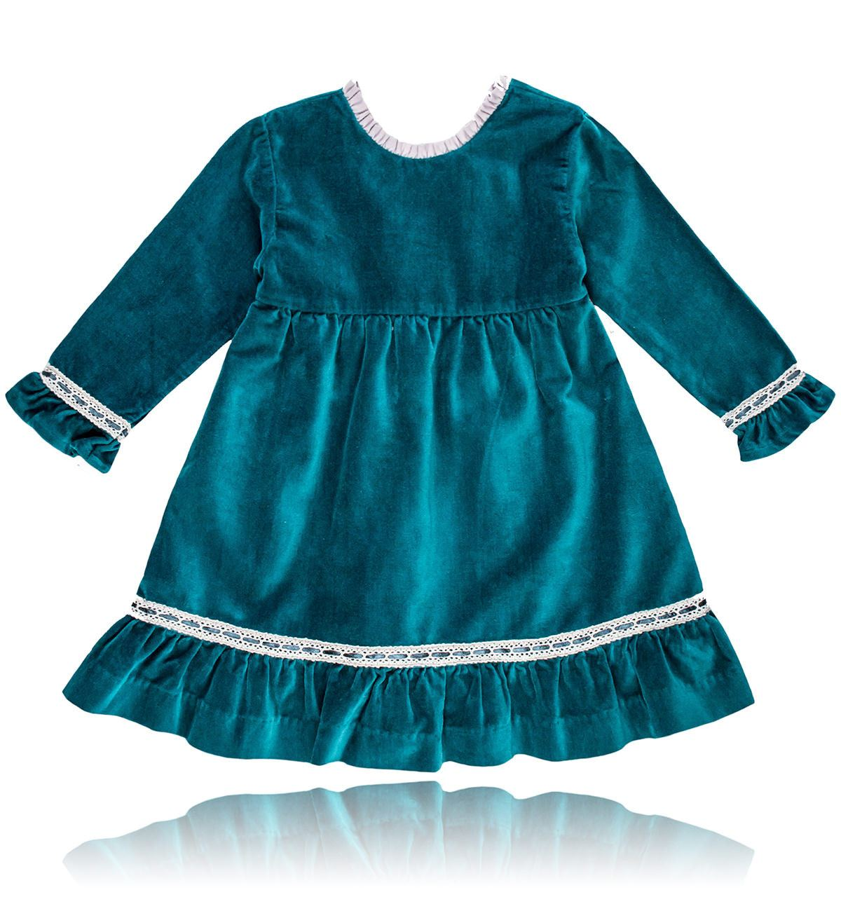 Spanish baby clothes | baby Dress | Green & pearl grey velvet dress |babymaC  - 1