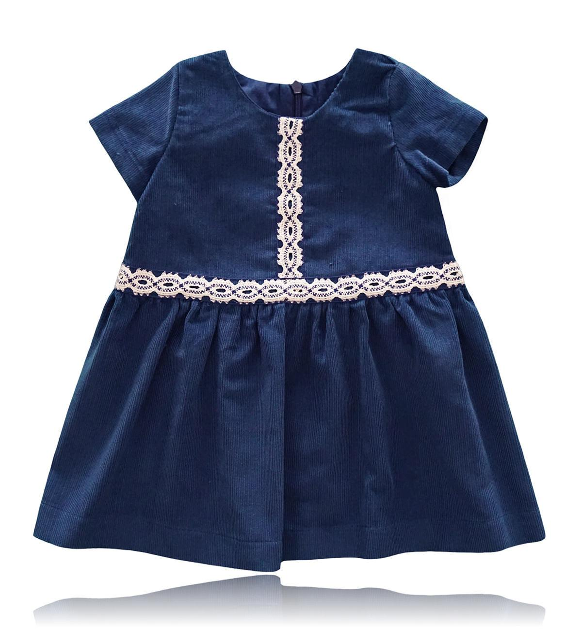 Spanish baby clothes | baby Dress | Navy blue corduroy dress |babymaC  - 1