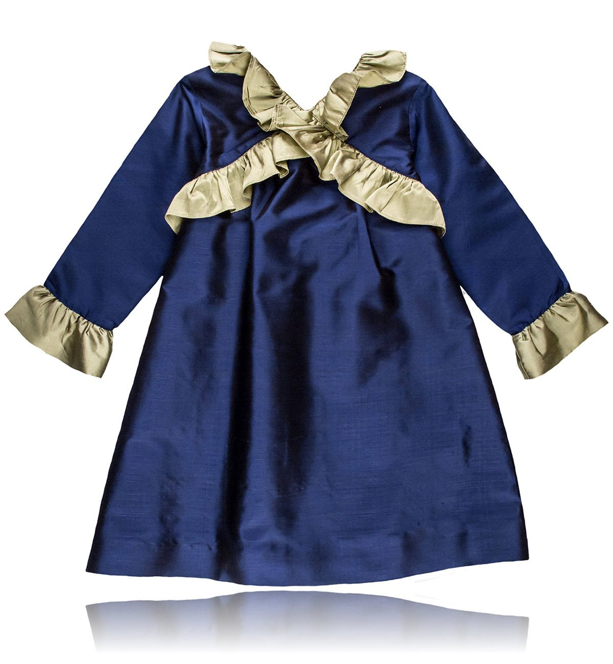 Spanish baby clothes | baby Dress | Navy blue & dusty gold silk dress |babymaC  - 1