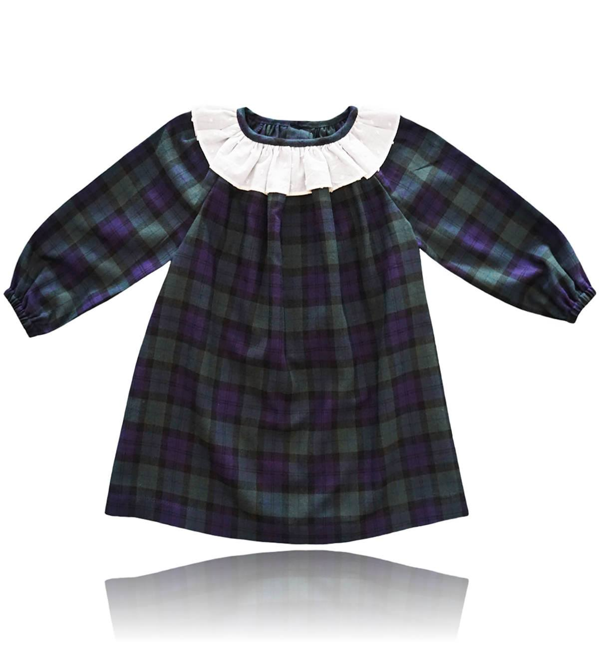 Spanish baby clothes | baby Dress | Navy blue & green check dress |babymaC  - 1
