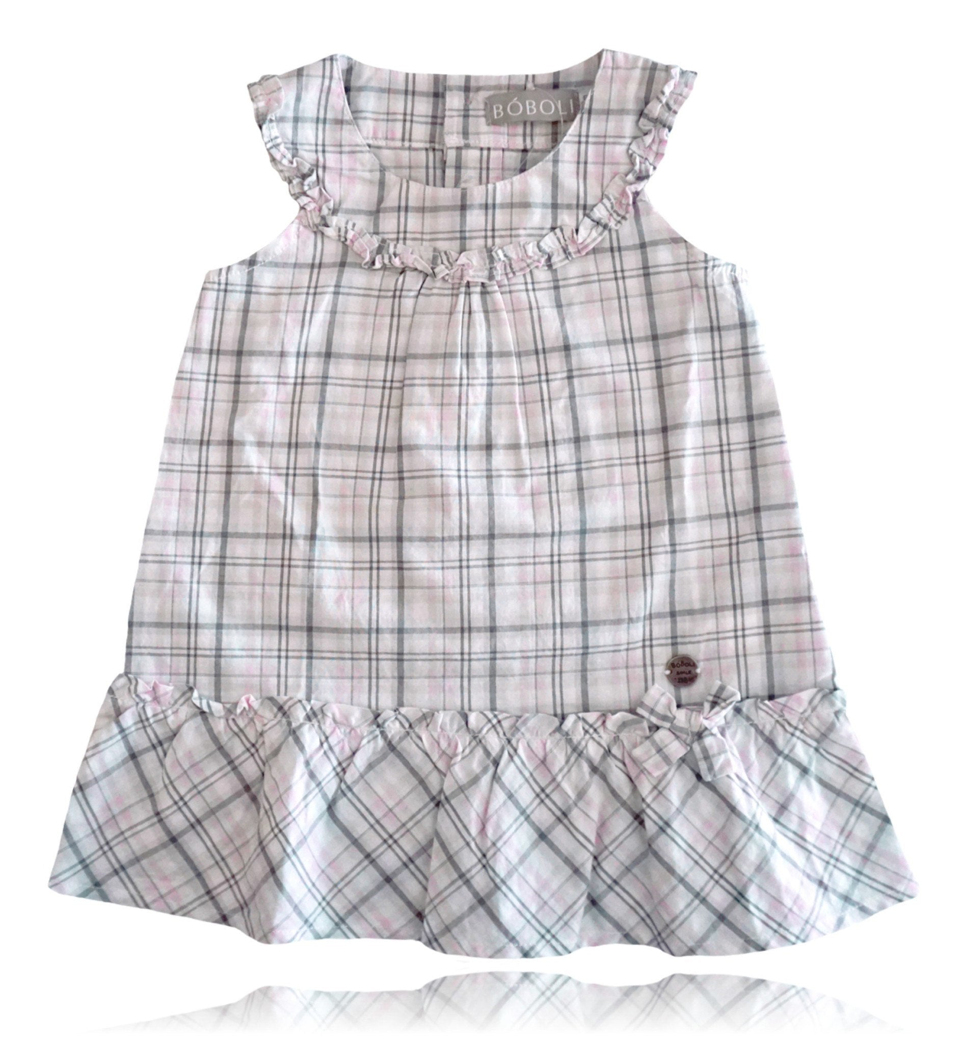 Spanish baby clothes | baby Dress | Pink and grey check print 2 piece dress set |babymaC  - 1