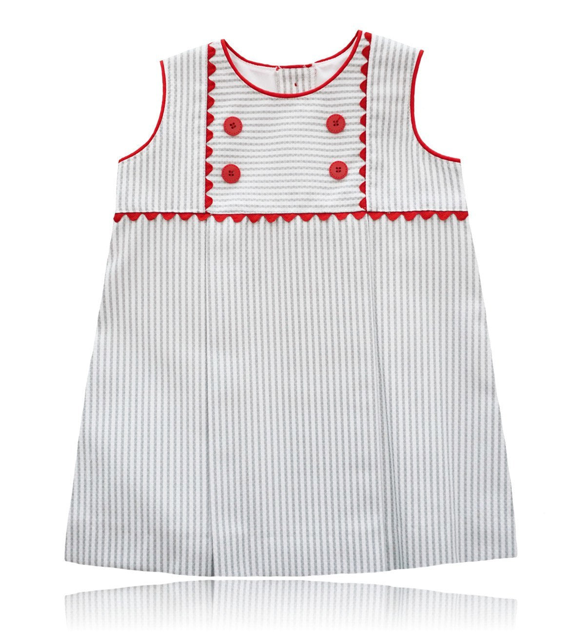 Spanish baby clothes | baby Dress | White & grey striped dress |babymaC  - 1