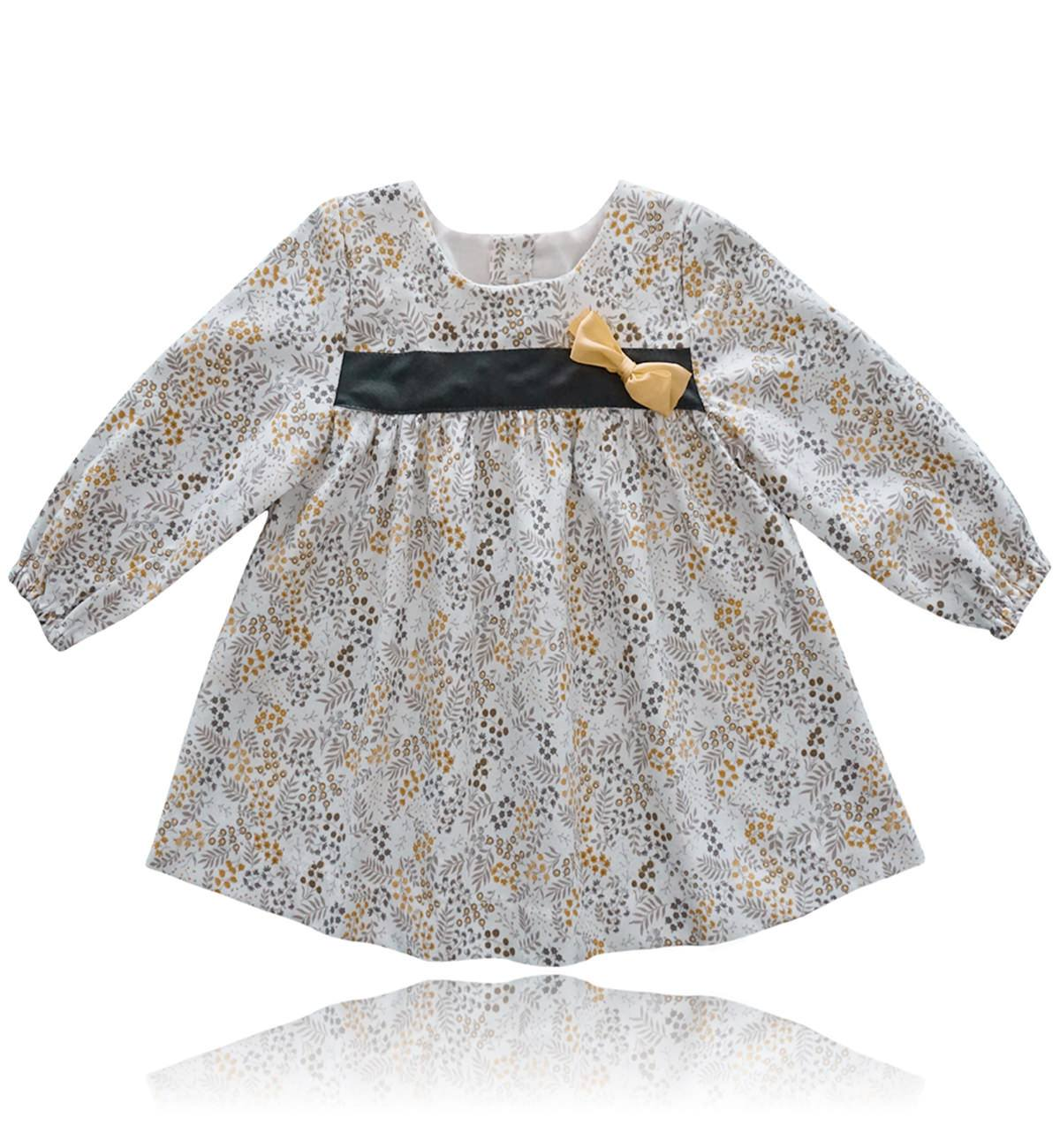 Spanish baby clothes | baby Dress | Yellow & brown floral print dress |babymaC  - 1