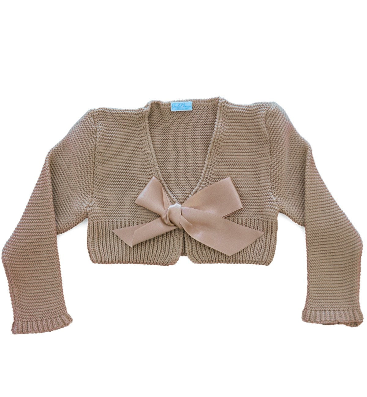 Spanish baby clothes | baby Cardigan & Coat | Camel satin ribbon bolero |babymaC