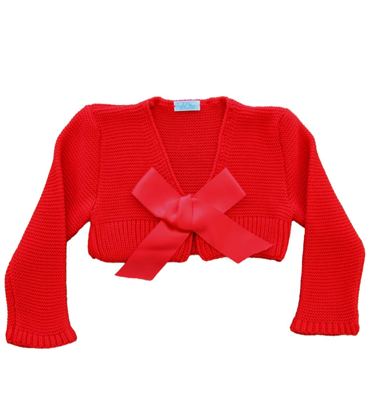 Spanish baby clothes | baby Cardigan & Coat | Red satin ribbon bolero |babymaC