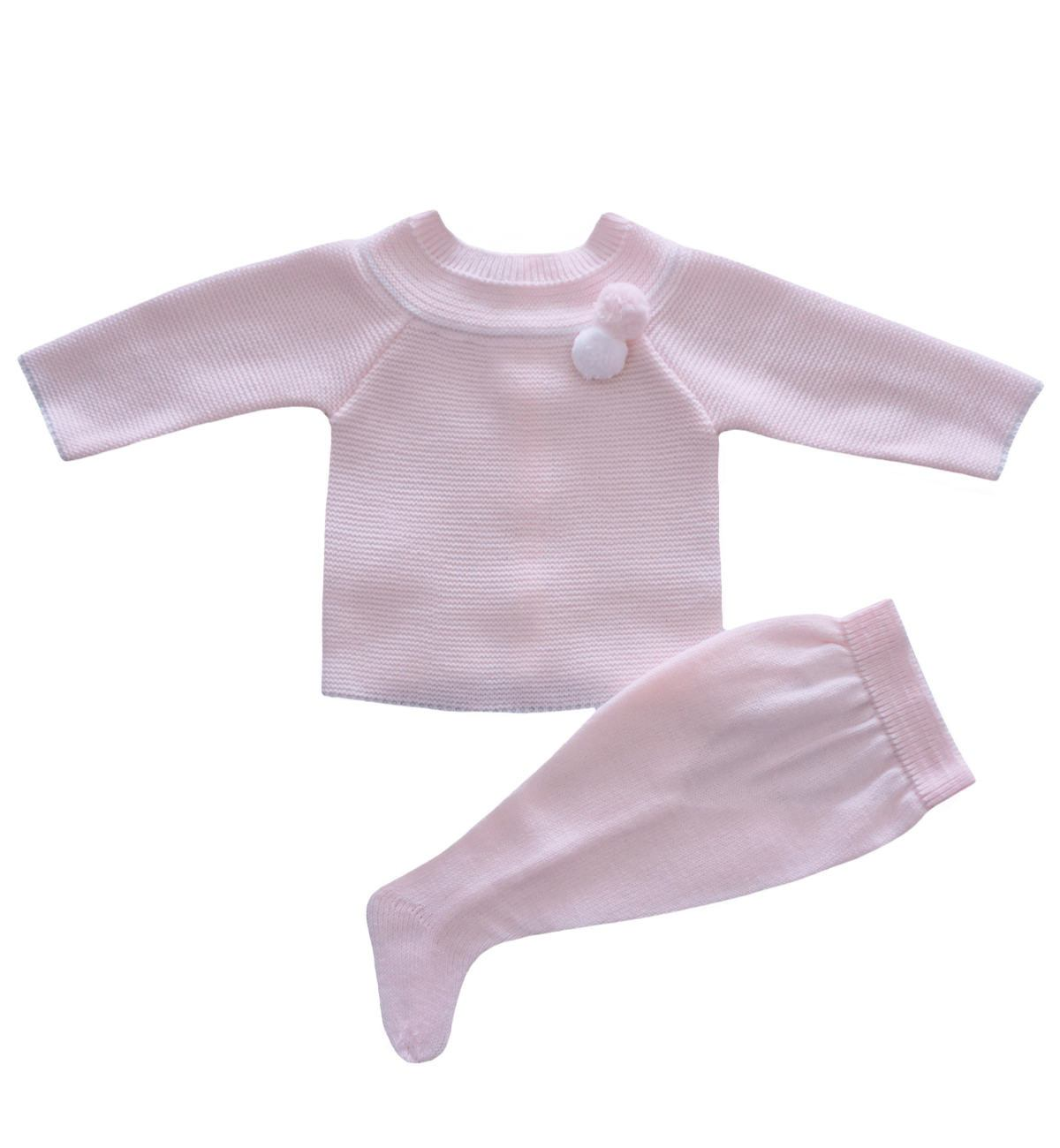 Spanish baby clothes | baby Knitted sets | Pale pink & white knitted set |babymaC  - 1