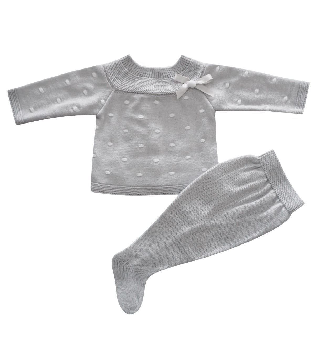 Spanish baby clothes | baby Knitted sets | Pearl grey knitted set |babymaC  - 1