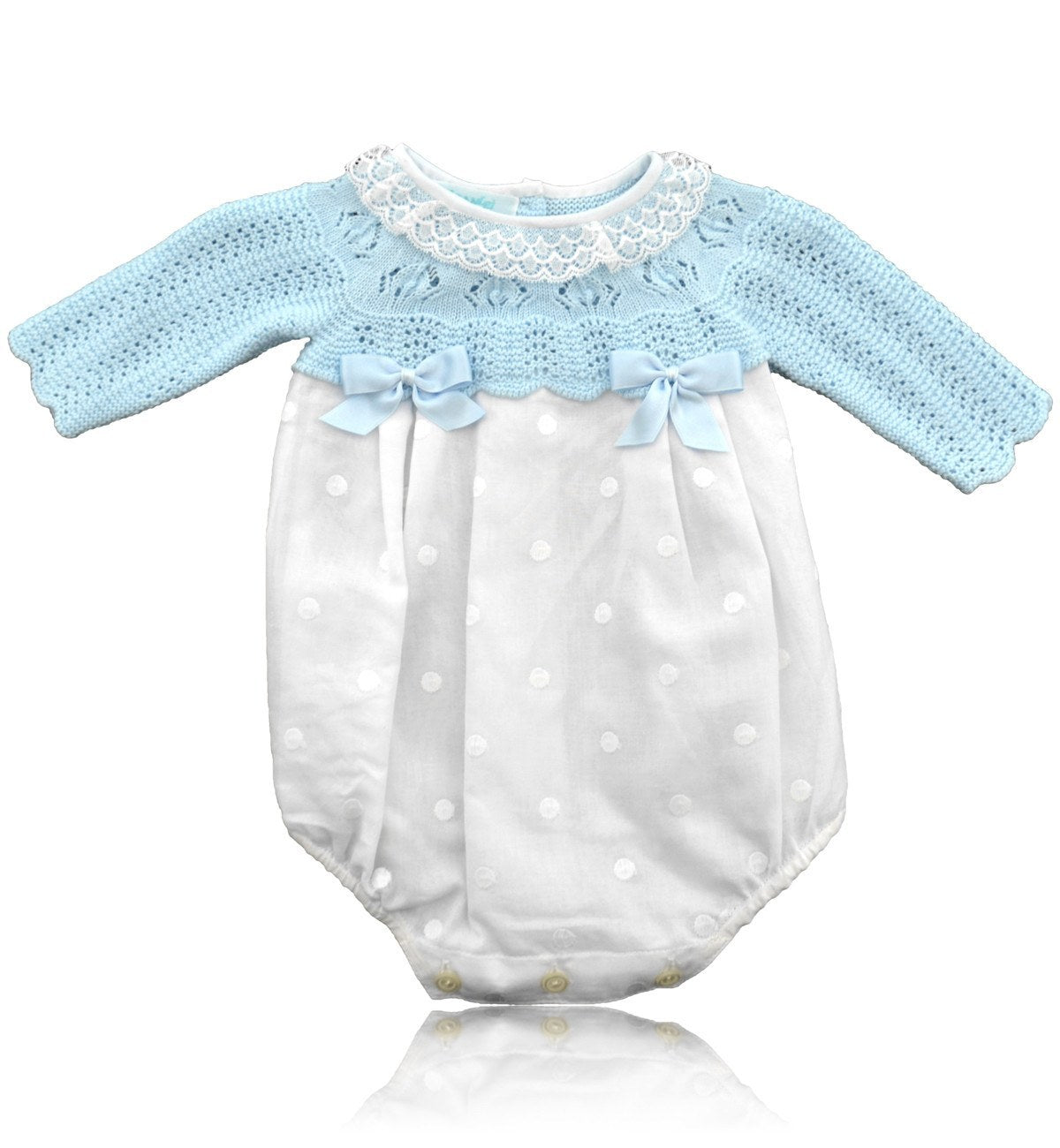 Spanish baby clothes | baby Rompers | Baby blue and white romper suit |babymaC  - 1