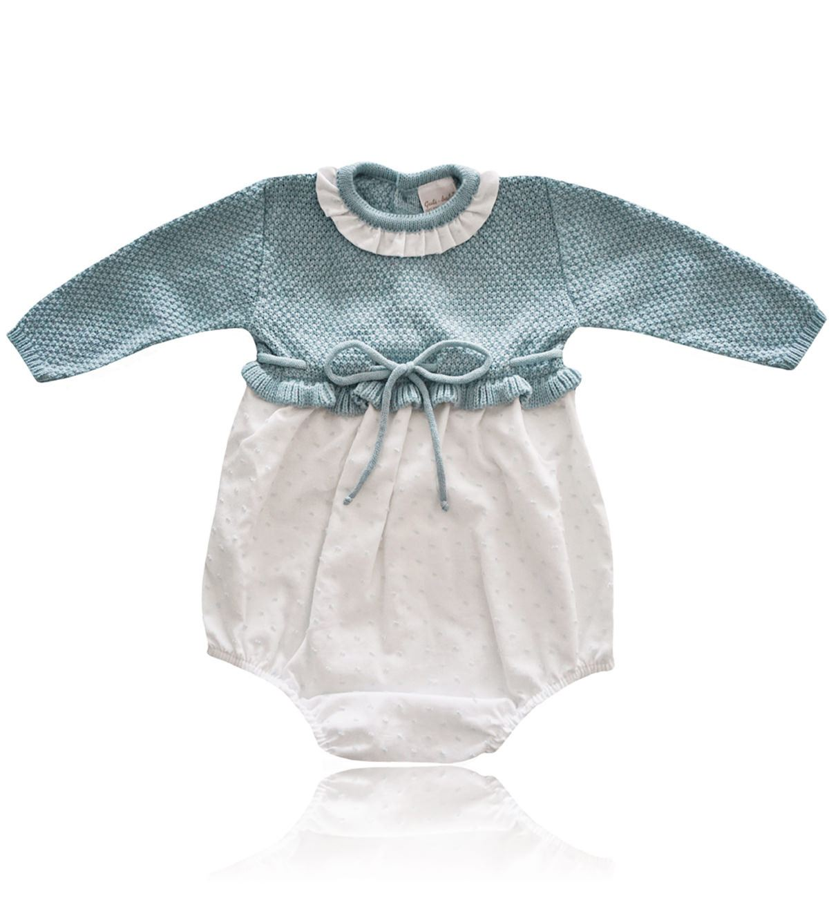 Spanish baby clothes | baby Rompers | Dusty green & white romper suit |babymaC  - 1