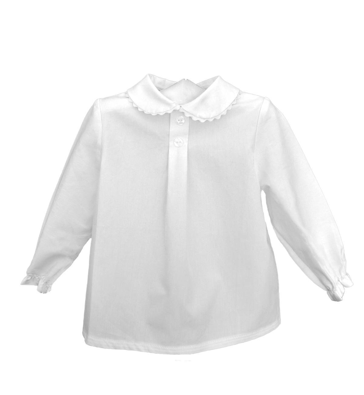 Spanish baby clothes | baby Shirts Baby Boy | 'Peter Pan' collar shirt (white) |babymaC  - 1