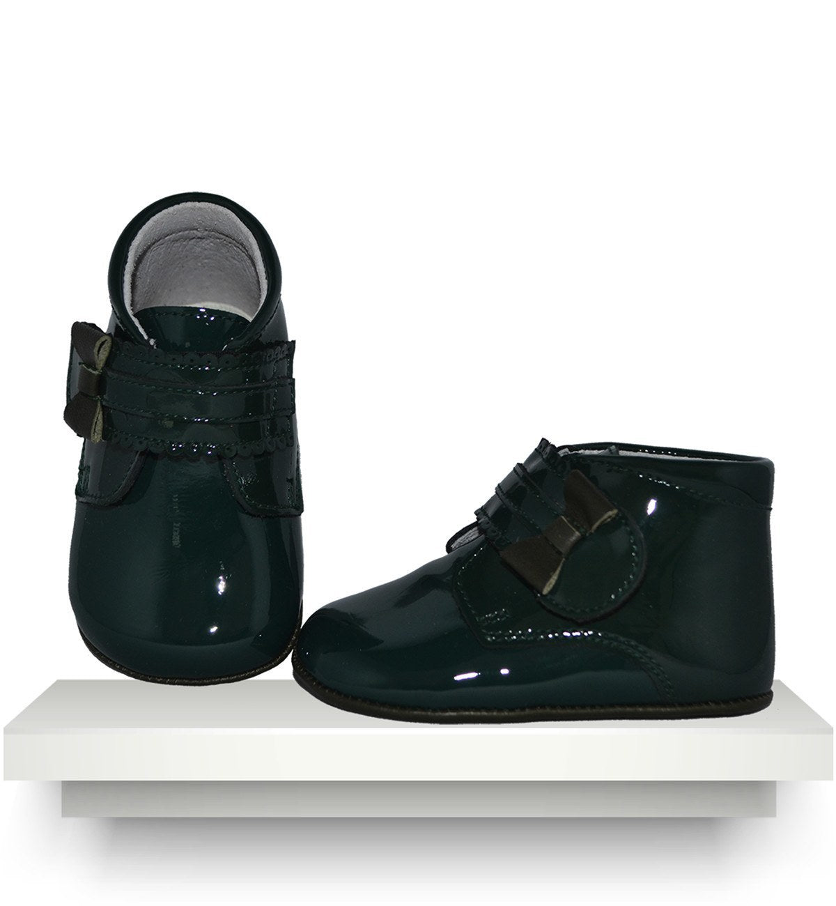 Spanish baby clothes | baby Shoes | Dark green patent leather boots |babymaC  - 1