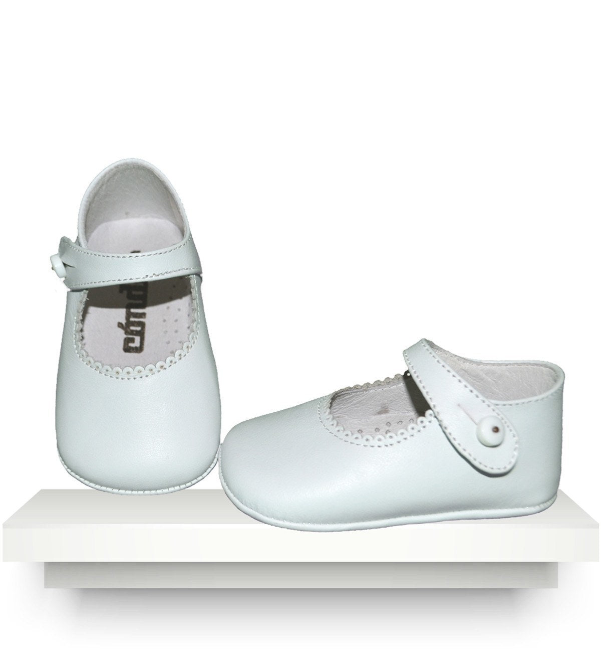 Spanish baby clothes | baby Shoes | White leather shoes |babymaC  - 1