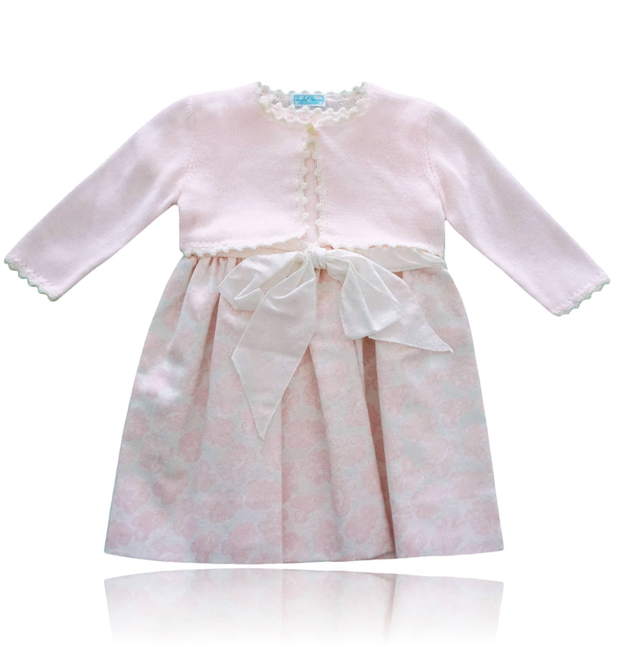 Spanish baby clothes | baby Dress | Pink & white bolero cardigan and dress set |babymaC  - 1