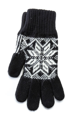 Rose Pattern Wool Gloves Black