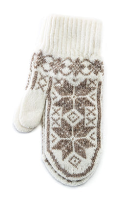 Rose Pattern Mittens White/Brown