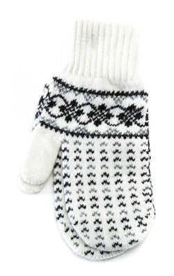Pattern Mittens White/Black