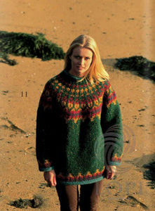 Icelandic sweaters and products - Fjara (Beach) Women Wool Sweater Green Tailor Made - NordicStore