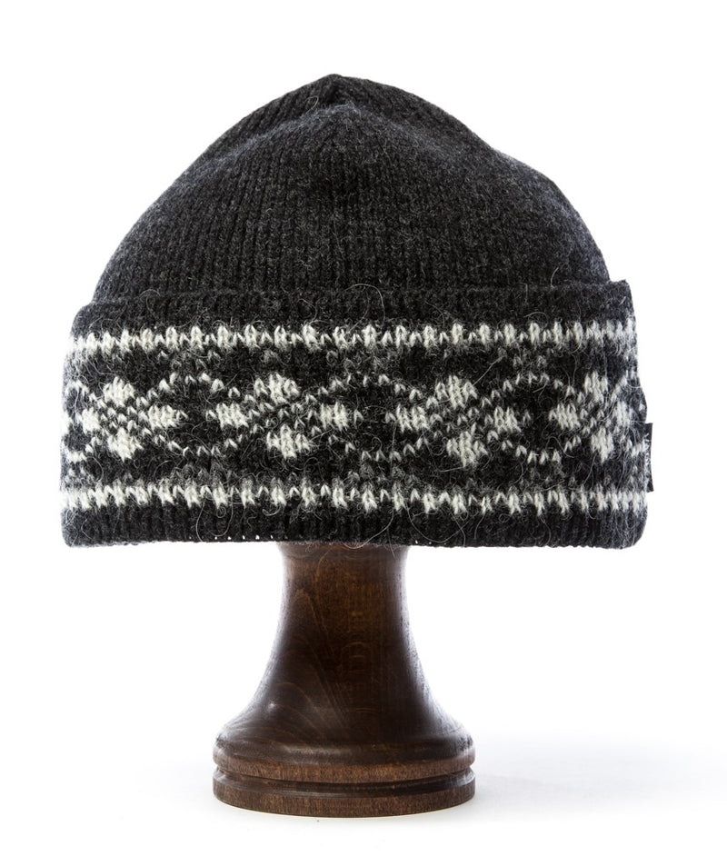 Patterned Wool Hat Grey