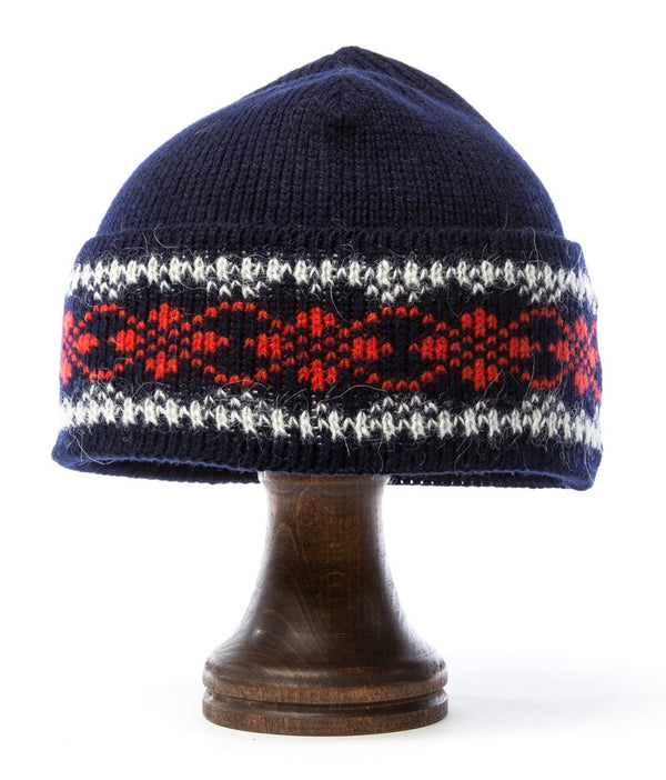 Patterned Wool Hat Blue