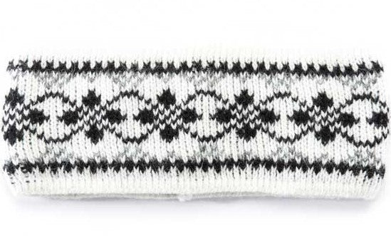 Wool Headband Patterned Dark White