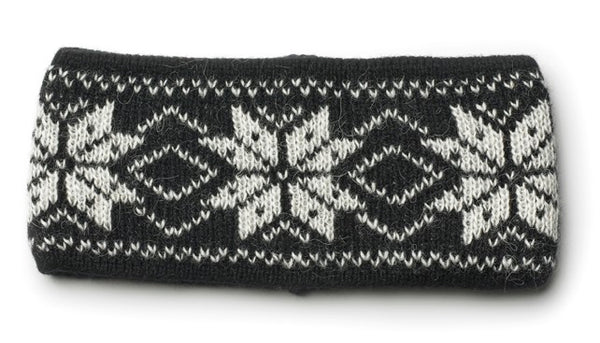 Rose Pattern Wool Headbands Black