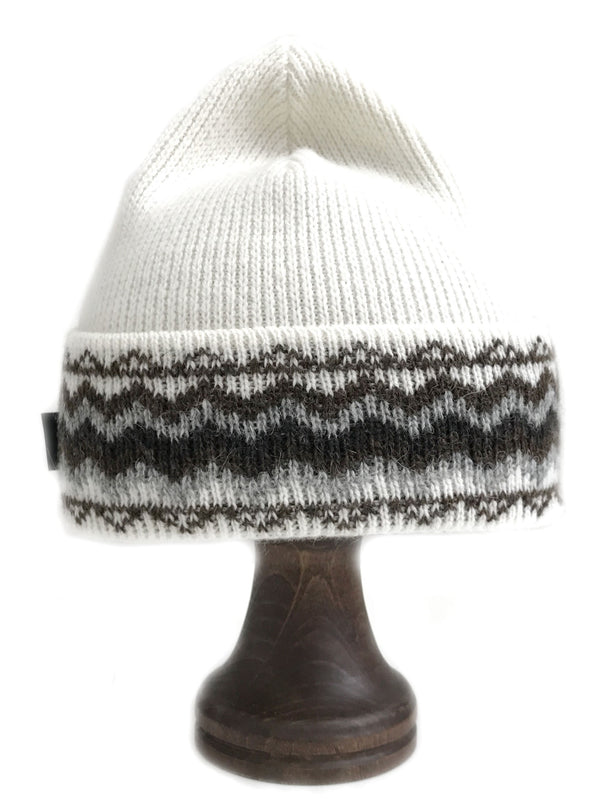 Pattern Wool Hat White