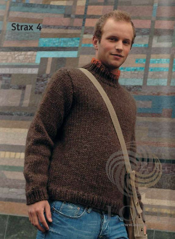 Icelandic sweaters and products - Strax Mens Wool Sweater Brown Tailor Made - NordicStore