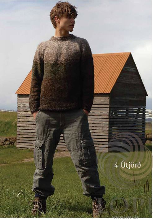 Icelandic sweaters and products - Útjörð (Earth) Mens Wool Sweater Brown Tailor Made - NordicStore