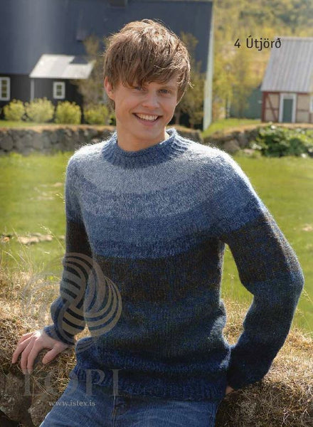 - Icelandic Útjörð (Earth) Mens Wool Sweater Blue - Tailor Made - Nordic Store Icelandic Wool Sweaters  - 1
