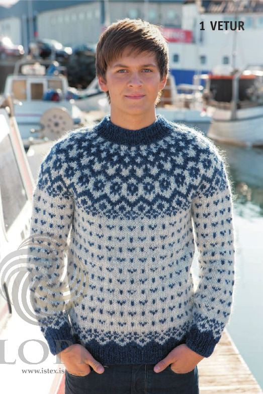 Icelandic sweaters and products - Vetur (Winter) Mens Wool Sweater Blue Tailor Made - NordicStore
